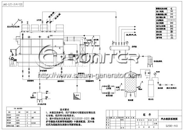 chain-grate-wood-pellet-steam-boiler-connection-drawing