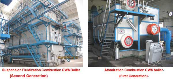 Comparison Between CWS Atomization Combustion System and CWS Fluidization Combustion System